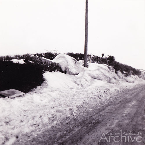 Snow Scene outside of Pen-Cw, Blagdon before road footpath improvements were carried out